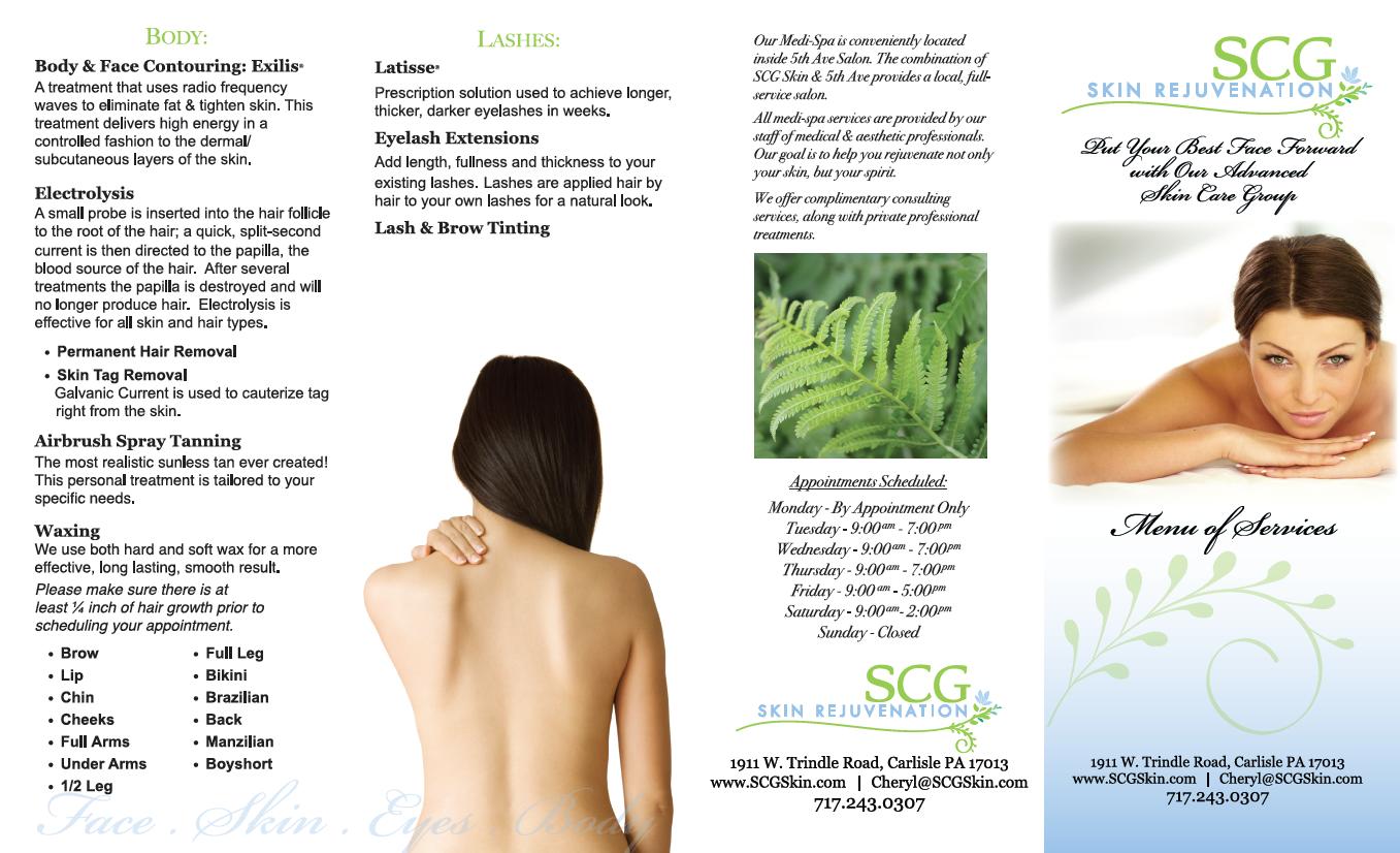 SCG menu of services -front